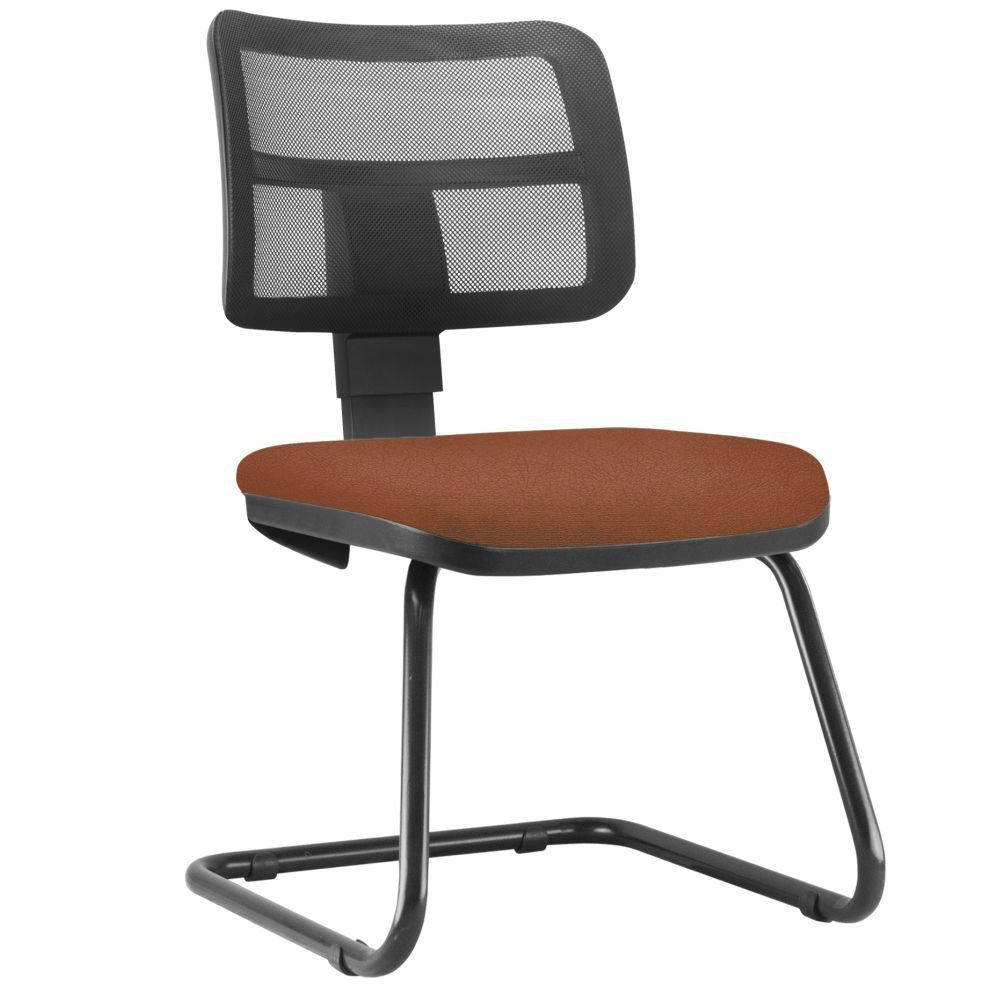 Cadeira de Escritório Recepção Fixa Zip L02 Couro Sintético Camel - Lyam Decor