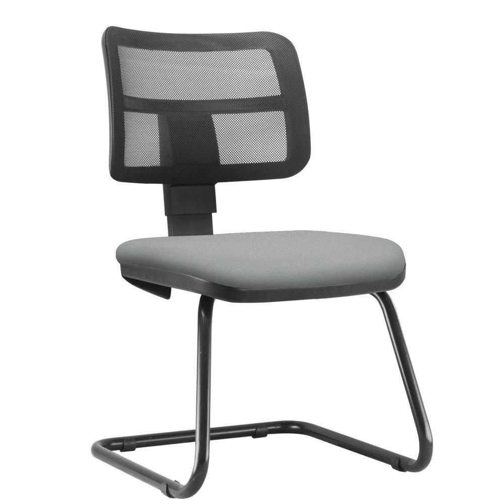 Cadeira de Escritório Recepção Fixa Zip L02 Couro Sintético Cinza - Lyam Decor