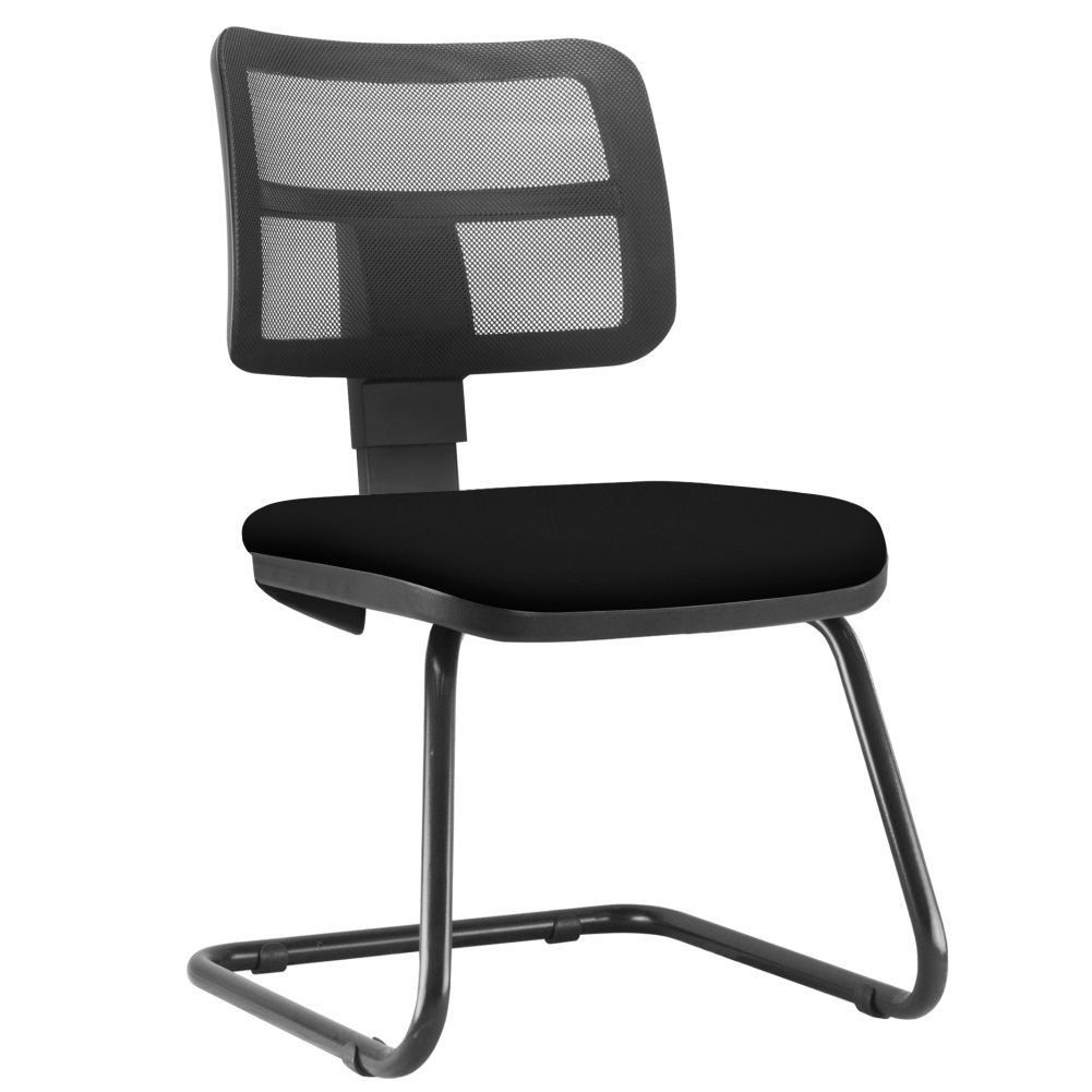 Cadeira de Escritório Recepção Fixa Zip L02 Couro Sintético Preto - Lyam Decor