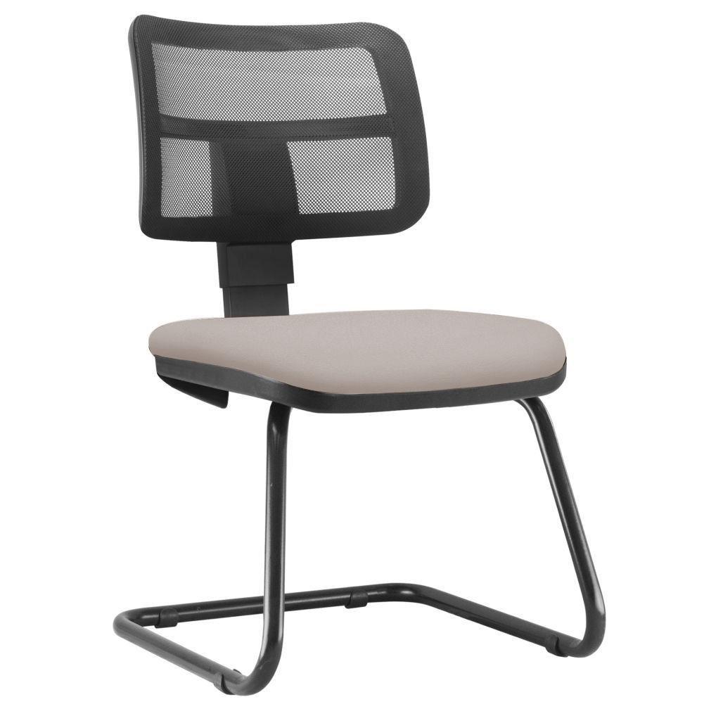 Cadeira de Escritório Recepção Fixa Zip L02 Linho Bege - Lyam Decor