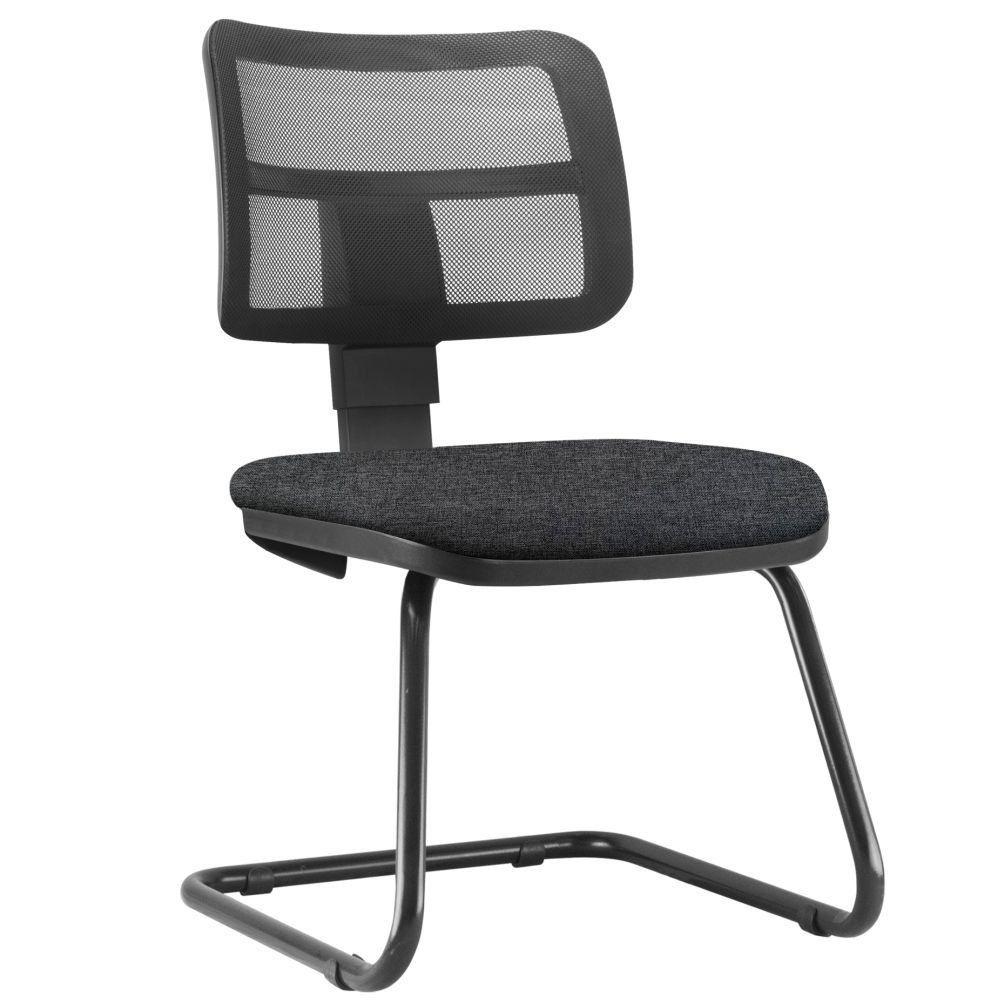 Cadeira de Escritório Recepção Fixa Zip L02 Linho Chumbo - Lyam Decor