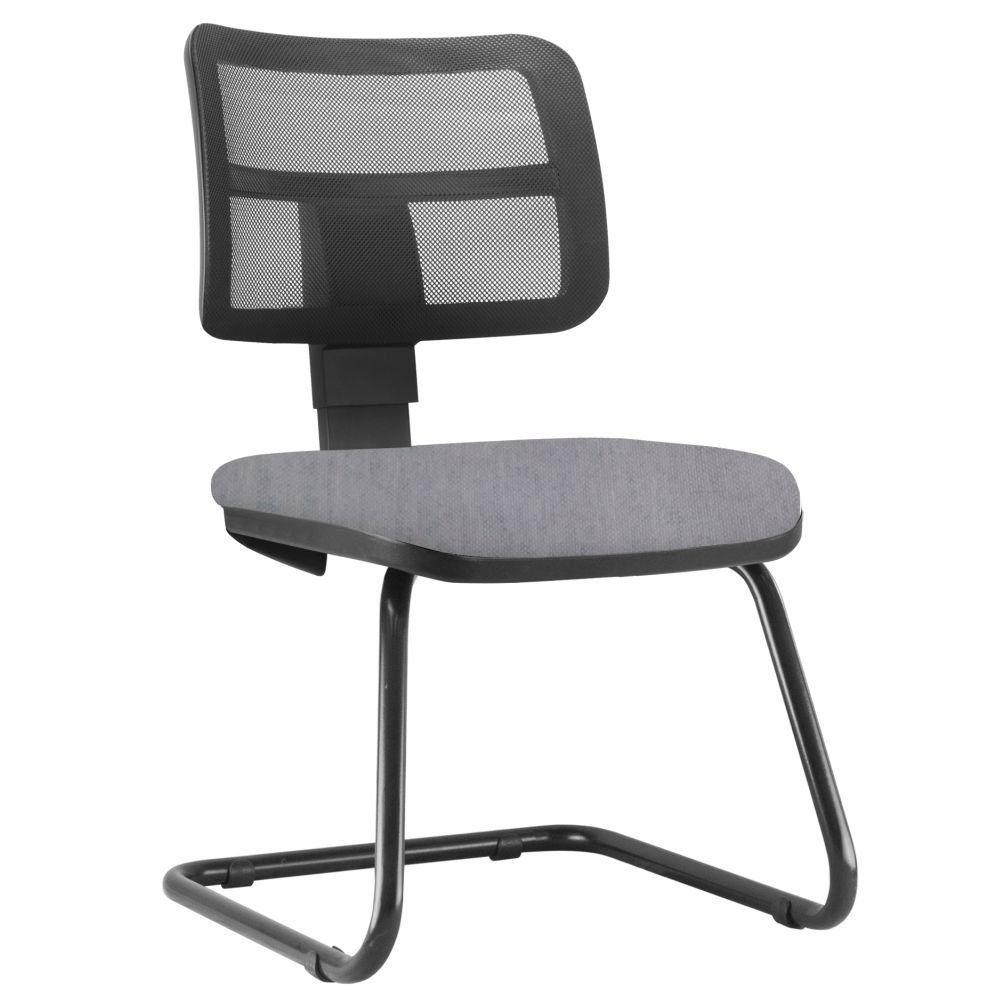 Cadeira de Escritório Recepção Fixa Zip L02 Linho Cinza - Lyam Decor