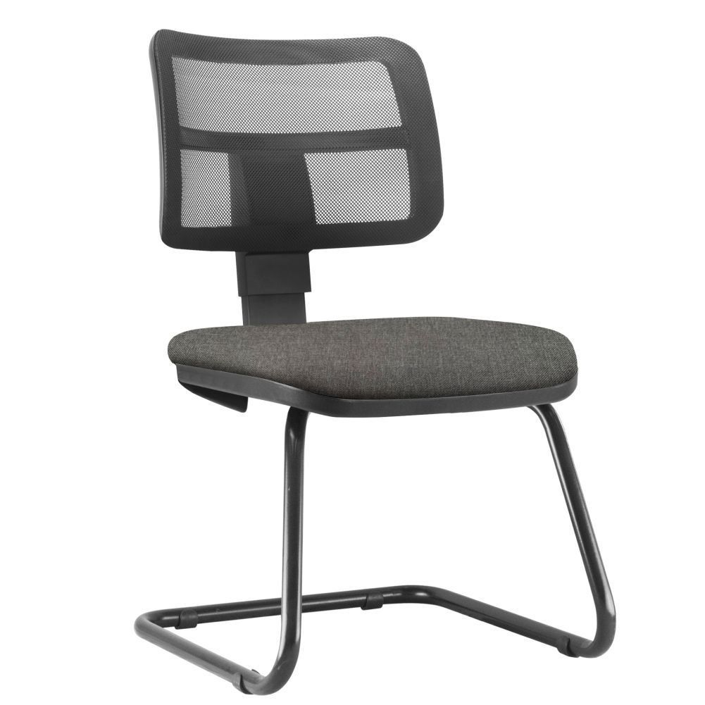 Cadeira de Escritório Recepção Fixa Zip L02 Linho Cinza Escuro - Lyam Decor