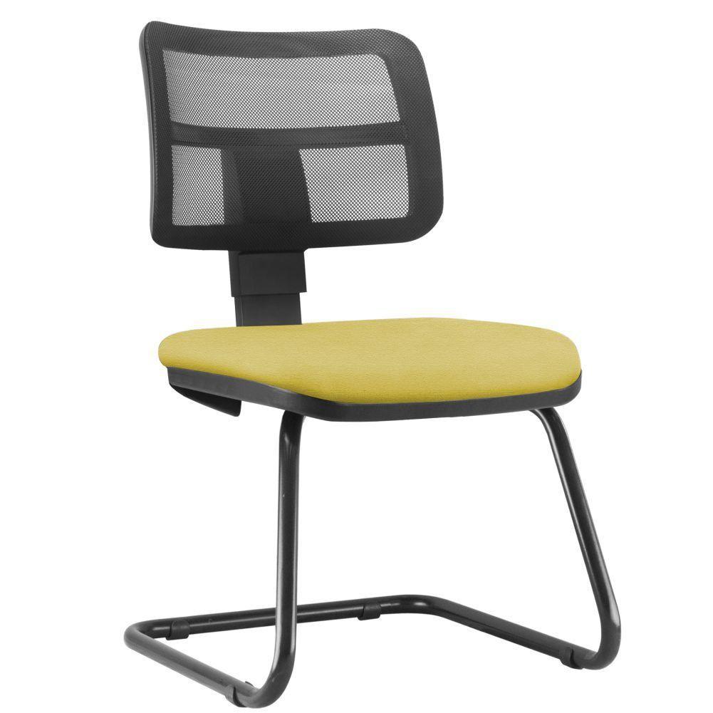 Cadeira de Escritório Recepção Fixa Zip L02 Suede Amarelo - Lyam Decor