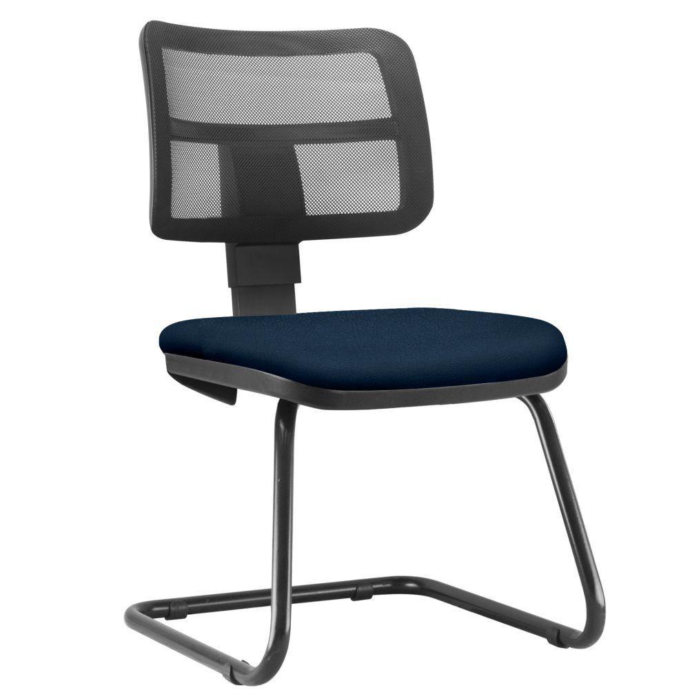 Cadeira de Escritório Recepção Fixa Zip L02 Crepe Azul Marinho - Lyam Decor
