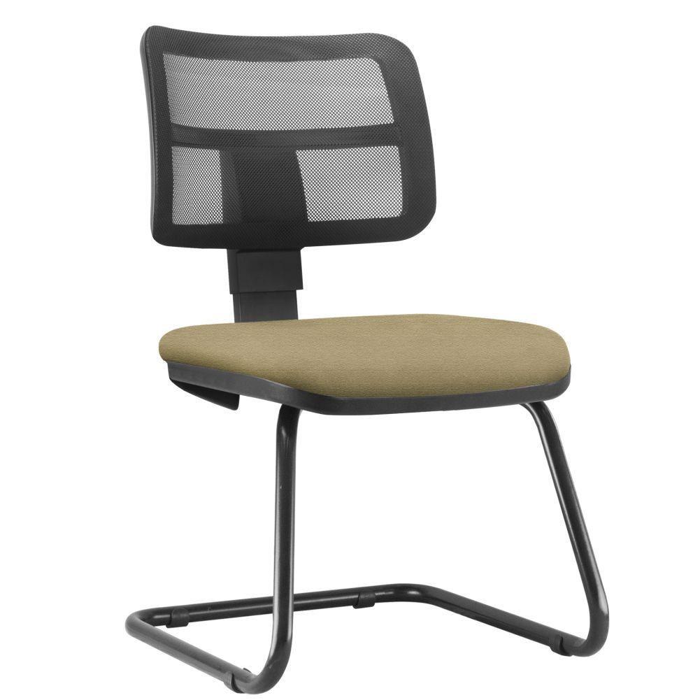 Cadeira de Escritório Recepção Fixa Zip L02 Suede Bege - Lyam Decor