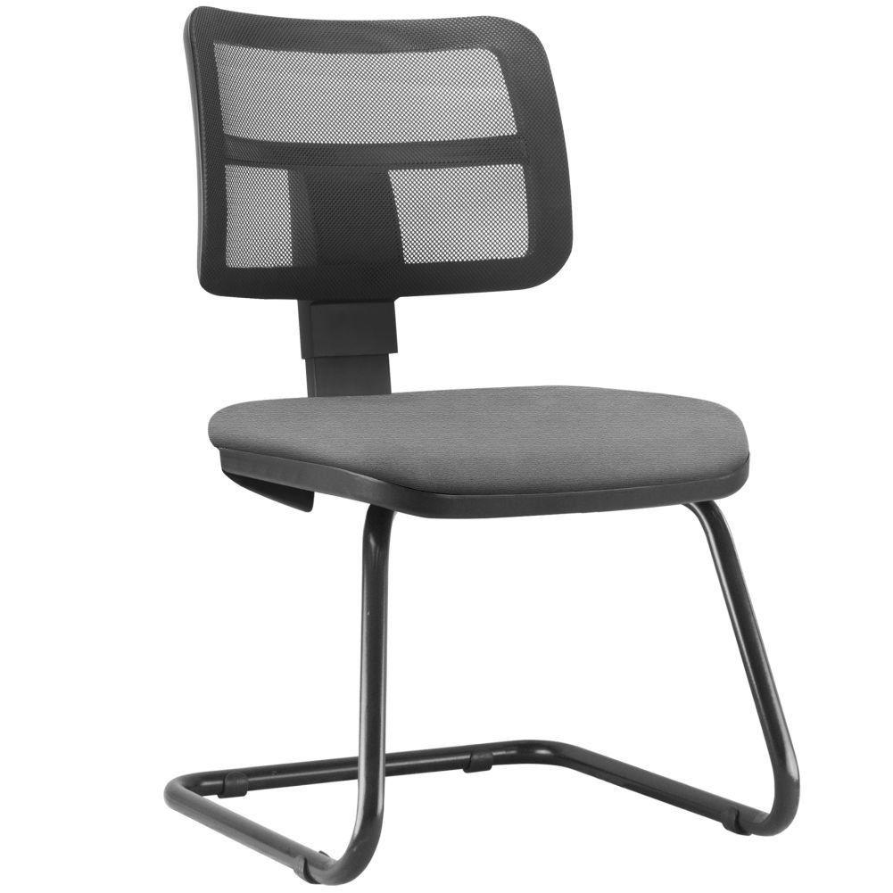 Cadeira de Escritório Recepção Fixa Zip L02 Crepe Cinza - Lyam Decor