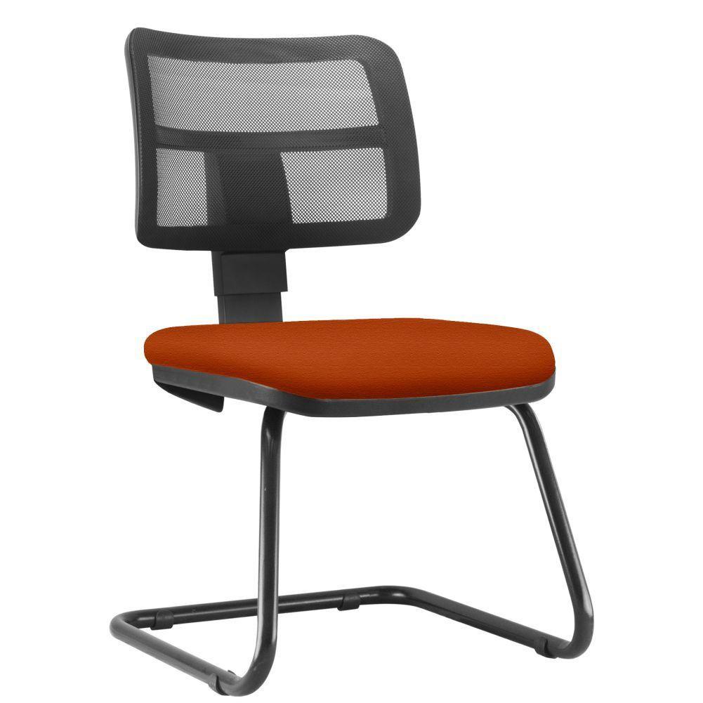 Cadeira de Escritório Recepção Fixa Zip L02 Suede Laranja - Lyam Decor