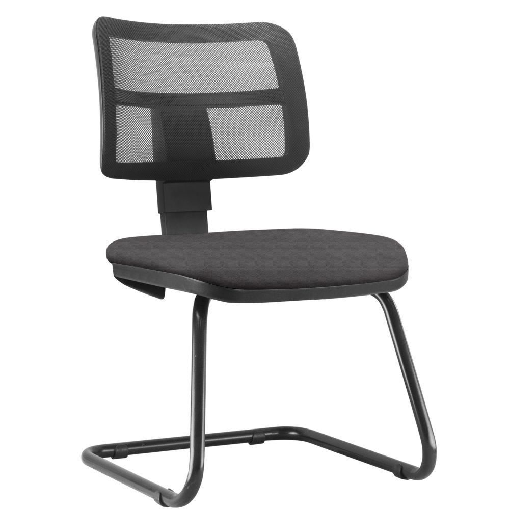 Cadeira de Escritório Recepção Fixa Zip L02 Suede Marrom - Lyam Decor