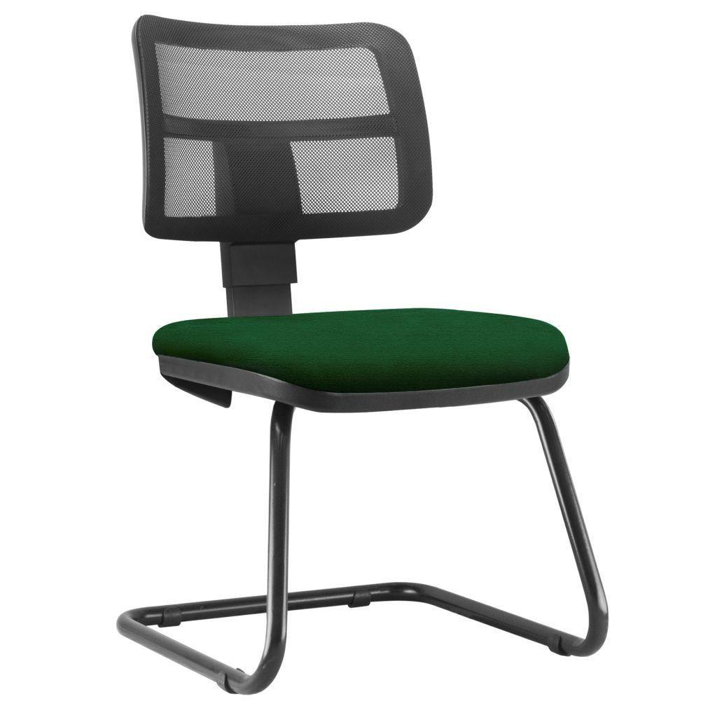 Cadeira de Escritório Recepção Fixa Zip L02 Crepe Verde Musgo - Lyam Decor
