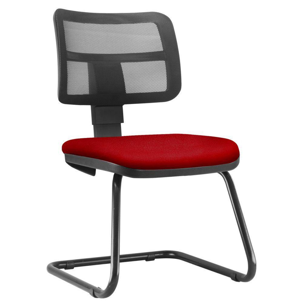 Cadeira de Escritório Recepção Fixa Zip L02 Suede Vermelho - Lyam Decor
