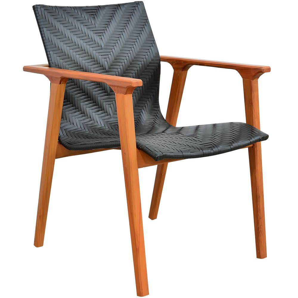 Cadeira Decorativa Belize Varanda Sala Fibra Sintética Preto - Lyam Decor