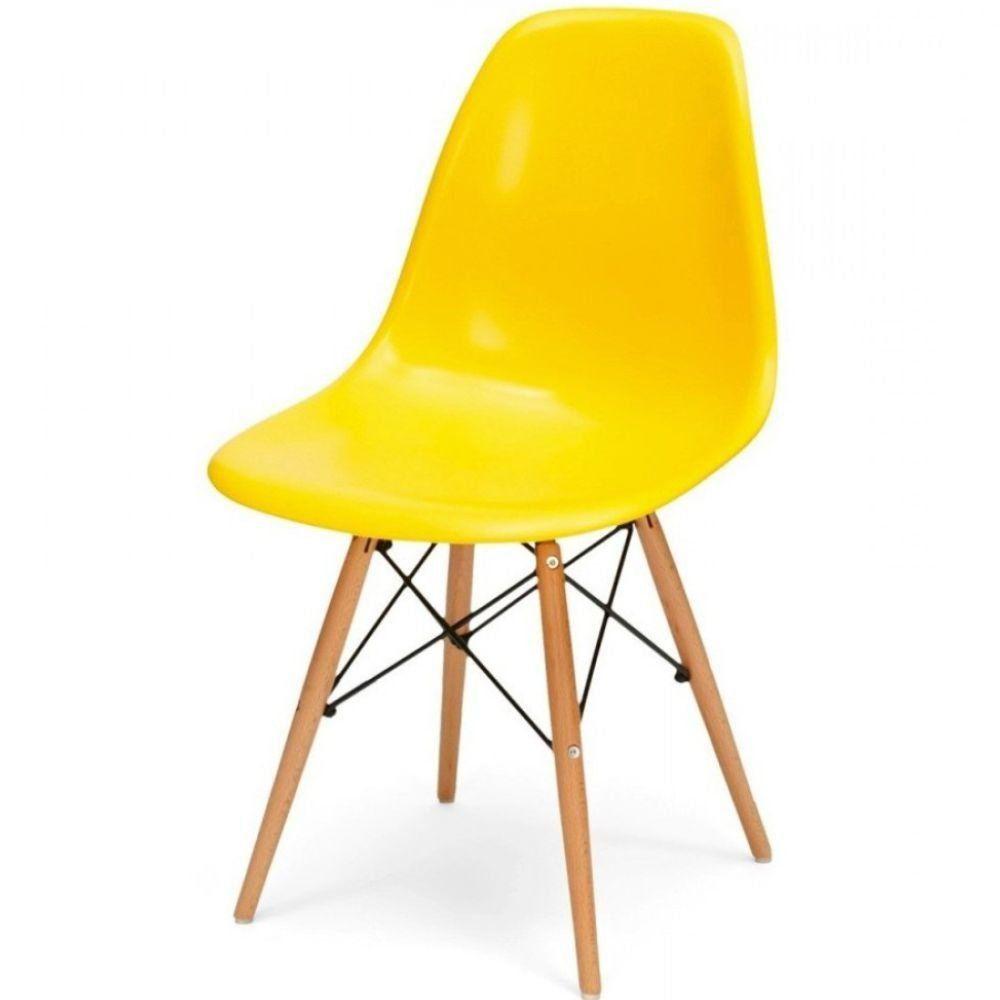 Cadeira Decorativa Eiffel Charles Eames F03 Amarelo com Pés de Madeira - Lyam Decor