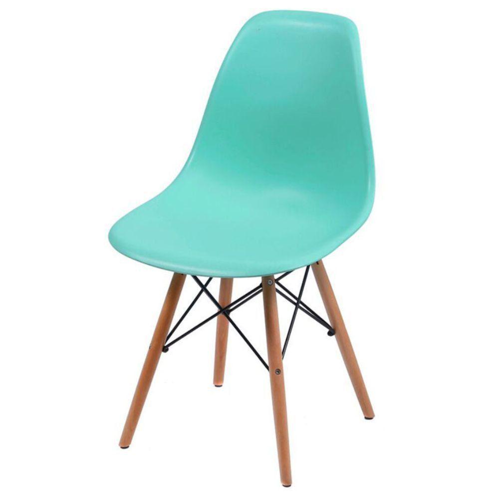 Cadeira Decorativa Eiffel Charles Eames F03 Azul Claro com Pés de Madeira - Lyam Decor