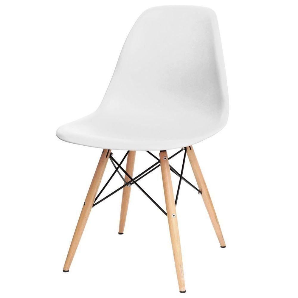 Cadeira Decorativa Eiffel Charles Eames F03 Branco com Pés de Madeira - Lyam Decor