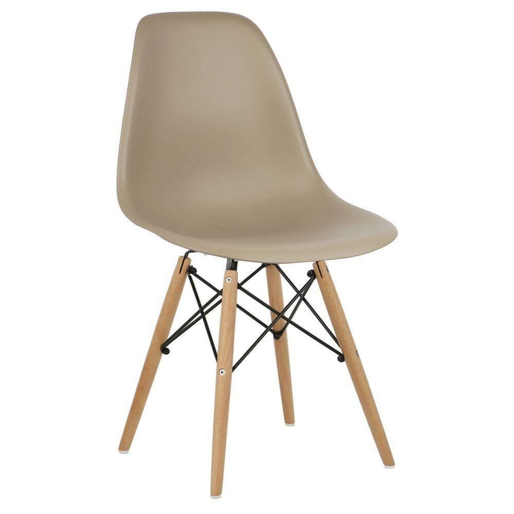 Cadeira Decorativa Eiffel Charles Eames F03 Nude com Pés de Madeira - Lyam Decor
