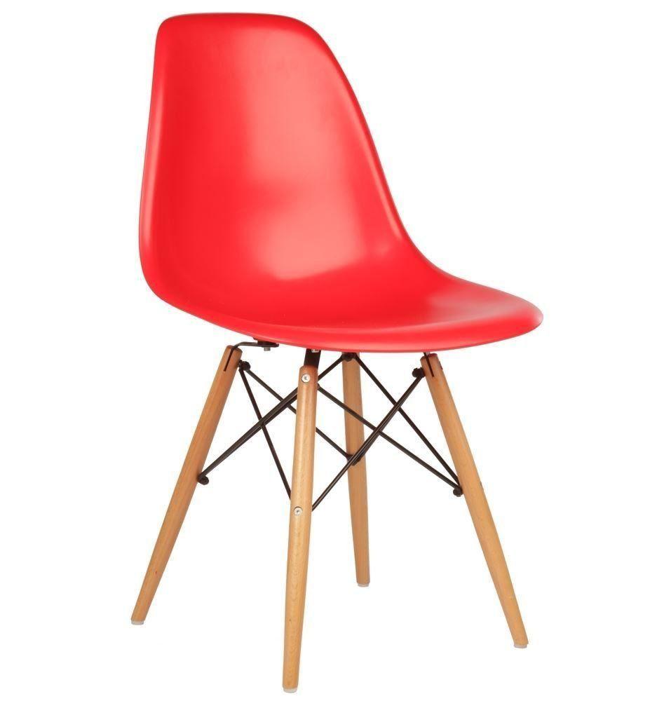 Cadeira Decorativa Eiffel Charles Eames F03 Vermelho com Pés de Madeira - Lyam Decor