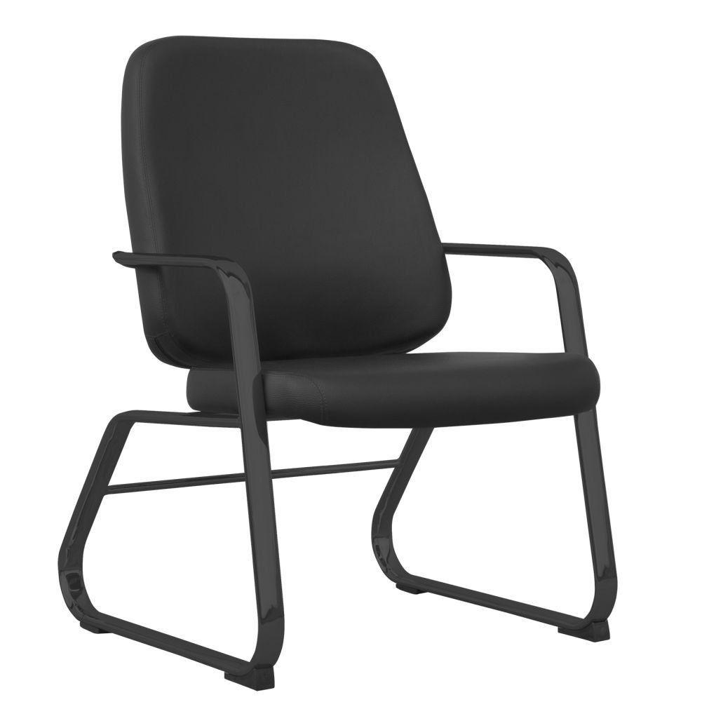 Cadeira Executiva Diretor Base Fixa Preto Maxxer F02 Couro Ecológico Preto - Lyam Decor