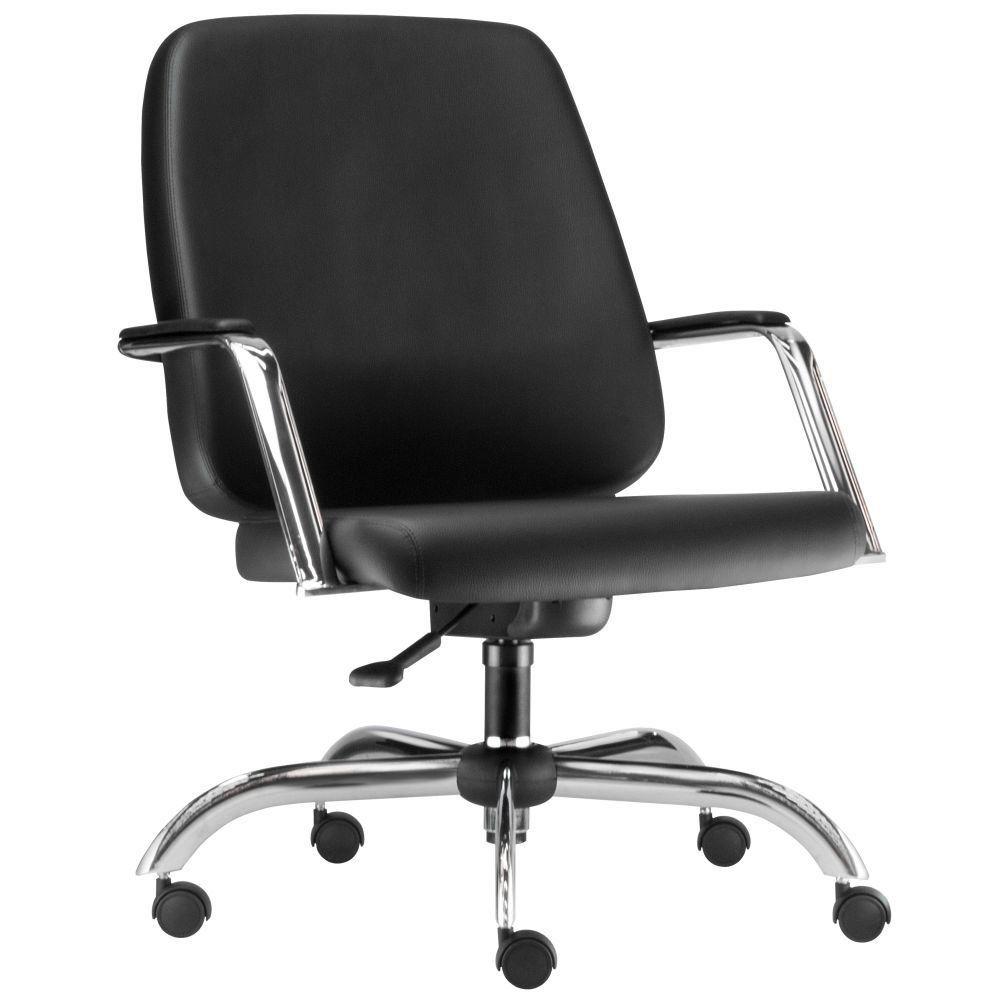 Cadeira Executiva Diretor Base Giratória Cromado Maxxer F02 Couro Ecológico Preto - Lyam Decor