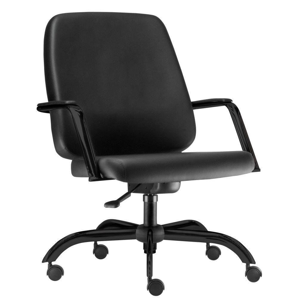 Cadeira Executiva Diretor Base Giratória Preto Maxxer F02 Couro Ecológico Preto - Lyam Decor