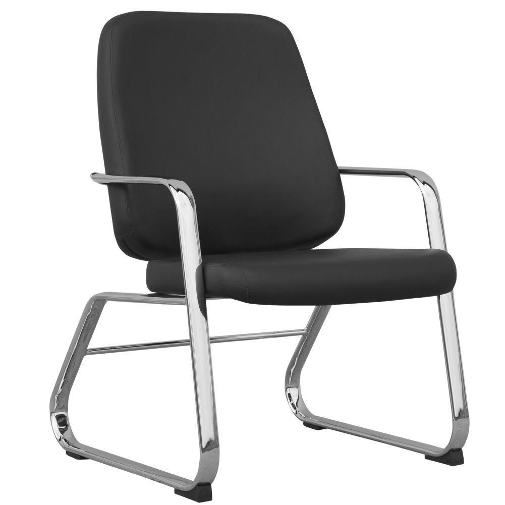 Cadeira Executiva Diretor Base Fixa Cromado Maxxer F02 Couro Ecológico Preto - Lyam Decor