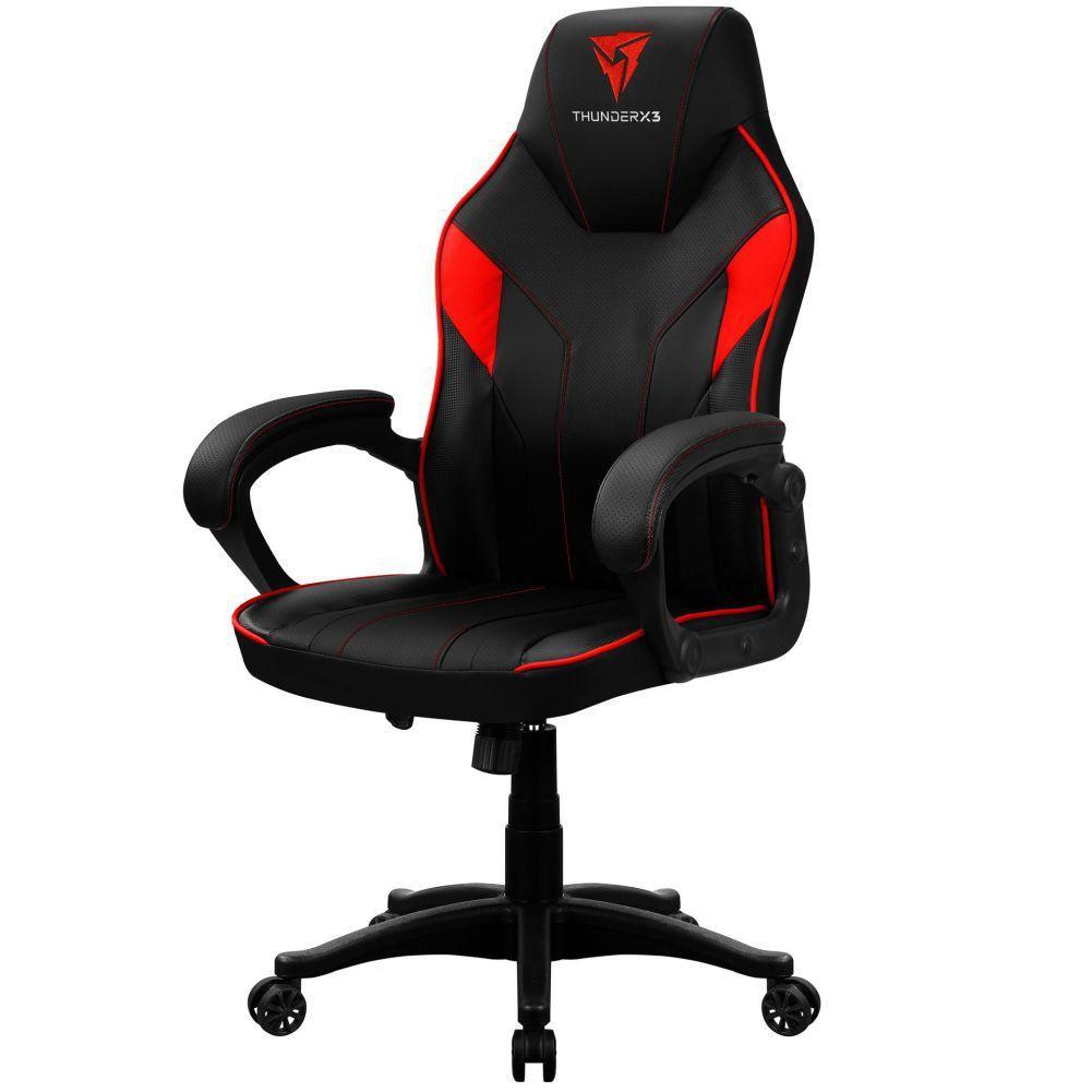 Cadeira Gamer Office Giratória com Elevação a Gás EC1 Preto Vermelho - ThunderX3