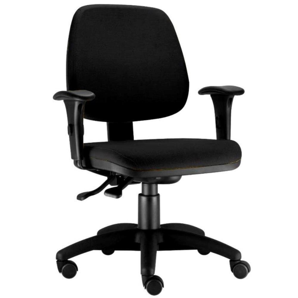 Cadeira Giratória Job L02 Executiva Ergonômica Escritório Tecido Crepe Preto - Lyam Decor