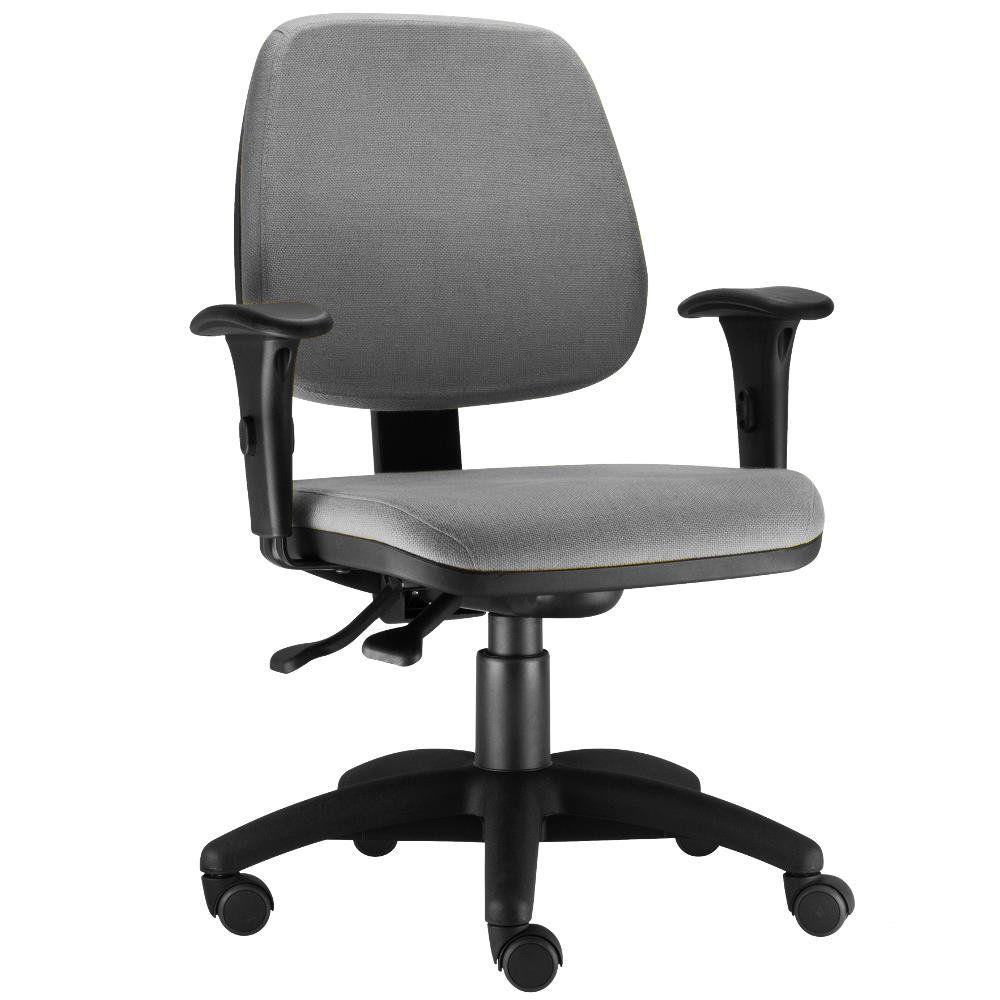 Cadeira Giratória Job L02 Executiva Ergonomica Escritório Crepe Cinza - Lyam Decor