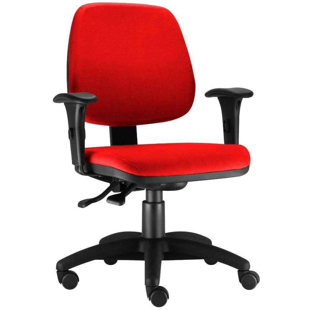 Cadeira Giratória Job L02 Executiva Ergonomica Escritório Suede Vermelho - Lyam Decor