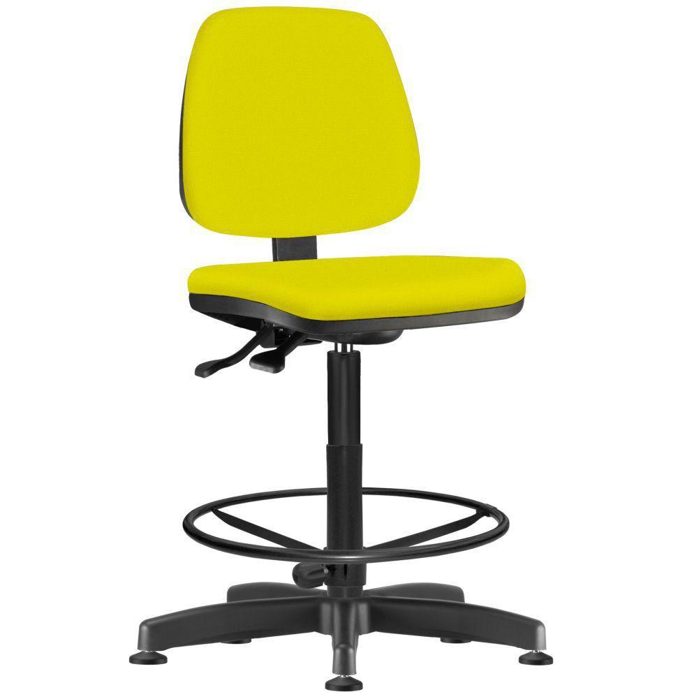 Cadeira Caixa Alta Giratória Job L02 Suede Amarelo - Lyam Decor