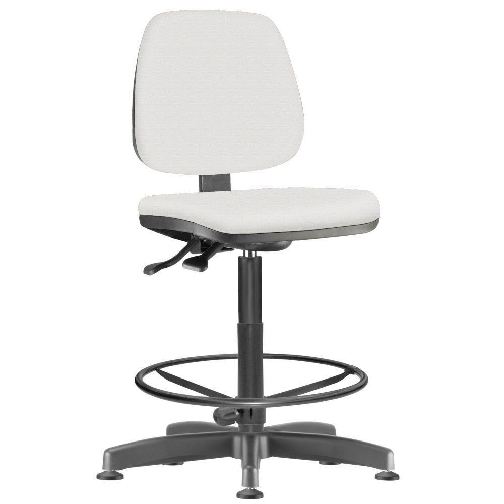 Cadeira Caixa Alta Giratória Job L02 Couro Sintético Branco - Lyam Decor