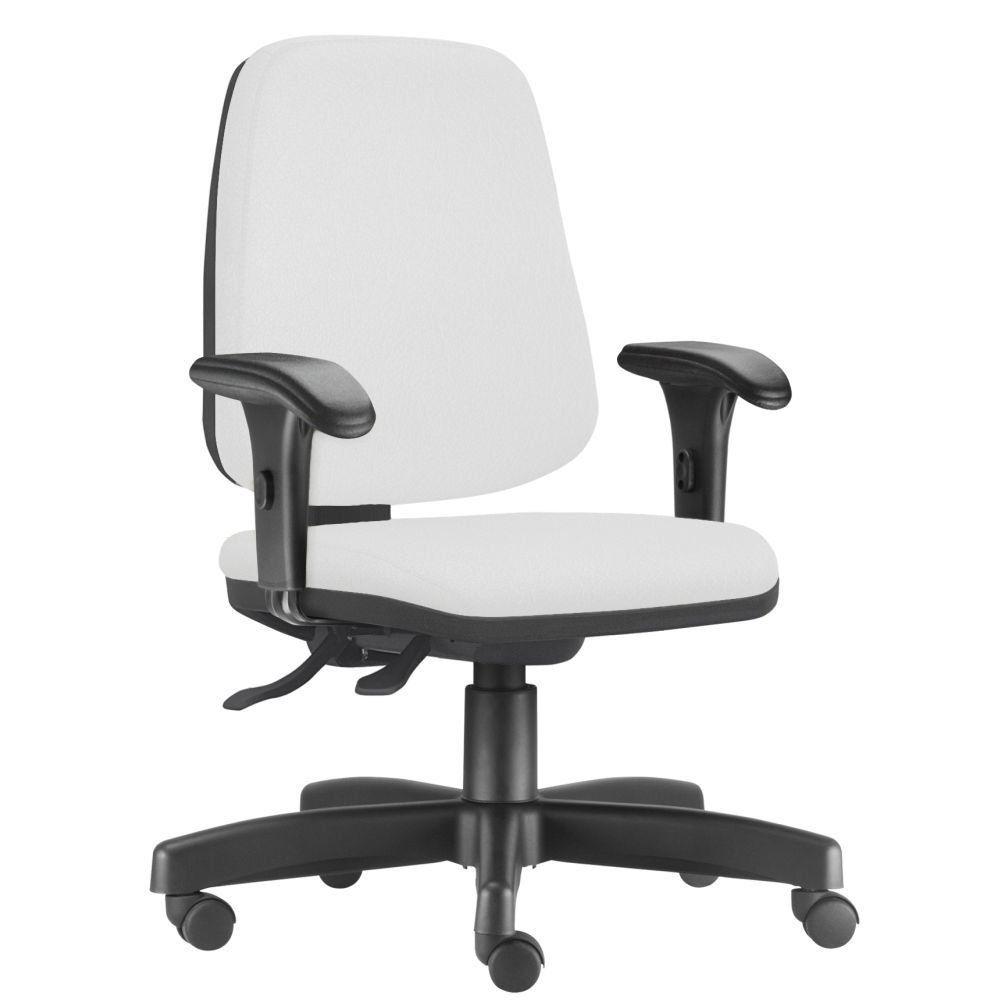 Cadeira Giratória Job L02 Diretor Executiva Couro Sintético Branco - Lyam Decor