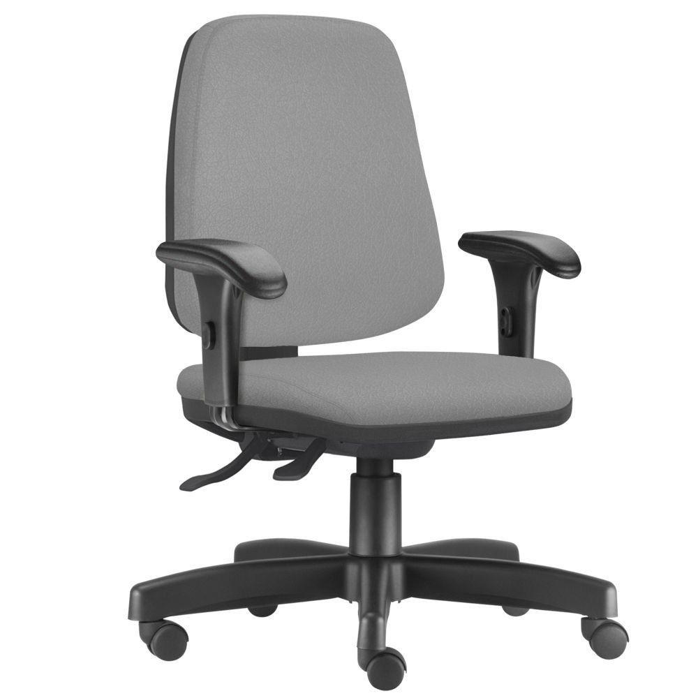 Cadeira Giratória Job L02 Diretor Executiva Couro Sintético Cinza - Lyam Decor