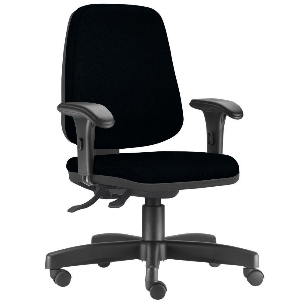 Cadeira Giratória Job L02 Diretor Executiva Couro Sintético Preto - Lyam Decor