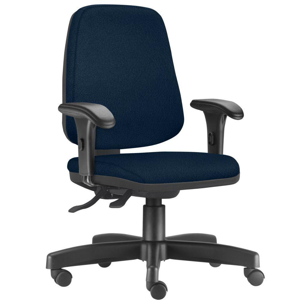 Cadeira Giratória Job L02 Diretor Executiva Crepe Azul Marinho - Lyam Decor