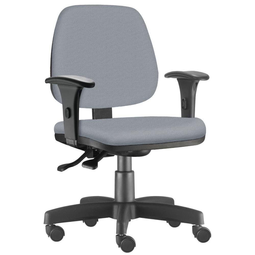 Cadeira Giratória Job L02 Executiva Ergonômica Escritório Couro Sintético Cinza - Lyam Decor
