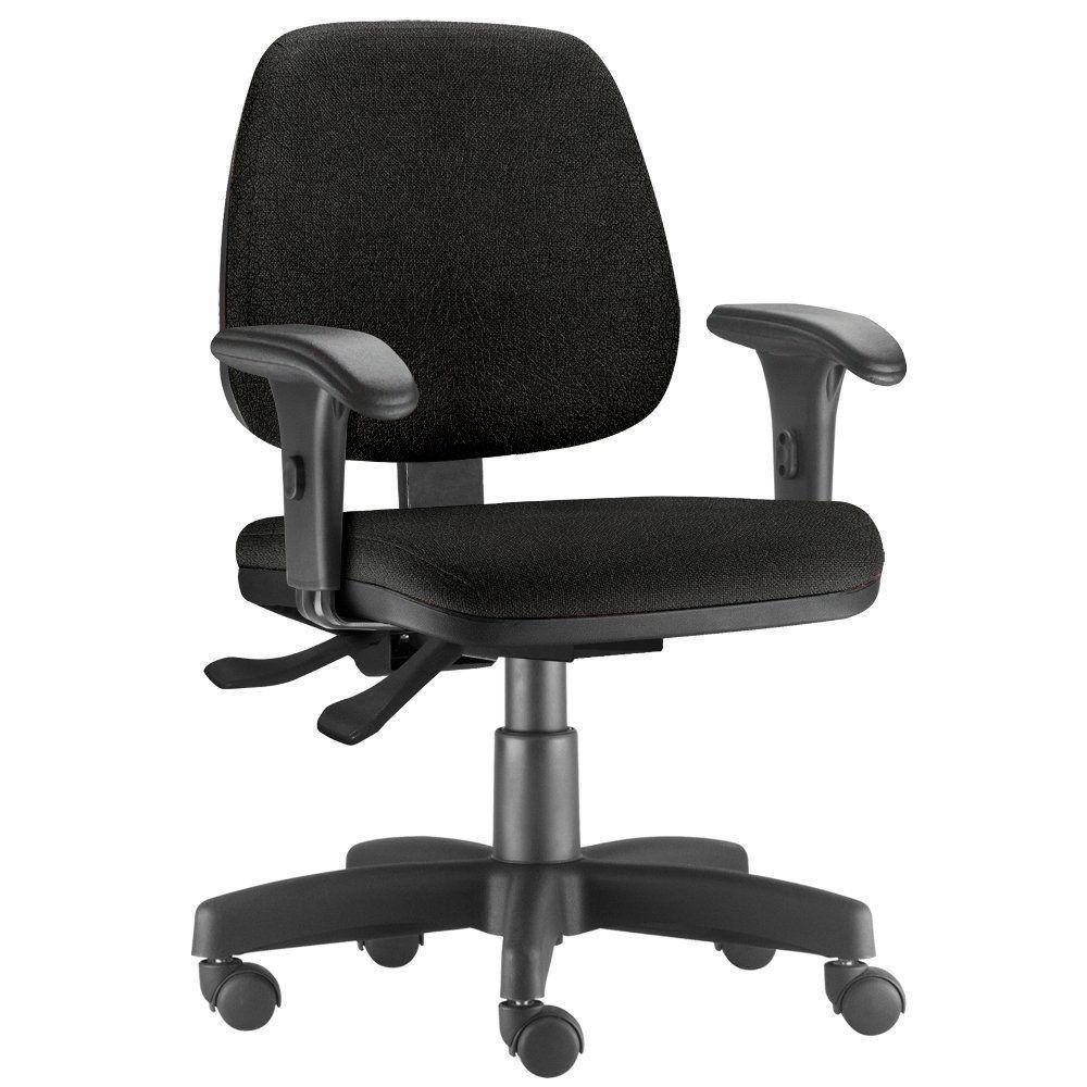 Cadeira Giratória Job L02 Executiva Ergonômica Escritório Couro Sintético Preto - Lyam Decor