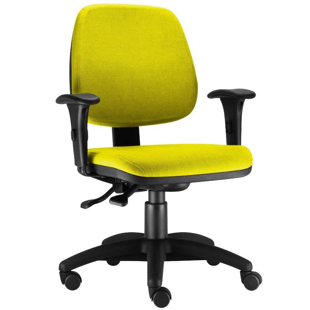 Cadeira Giratória Job L02 Executiva Ergonomica Escritório Suede Amarelo - Lyam Decor