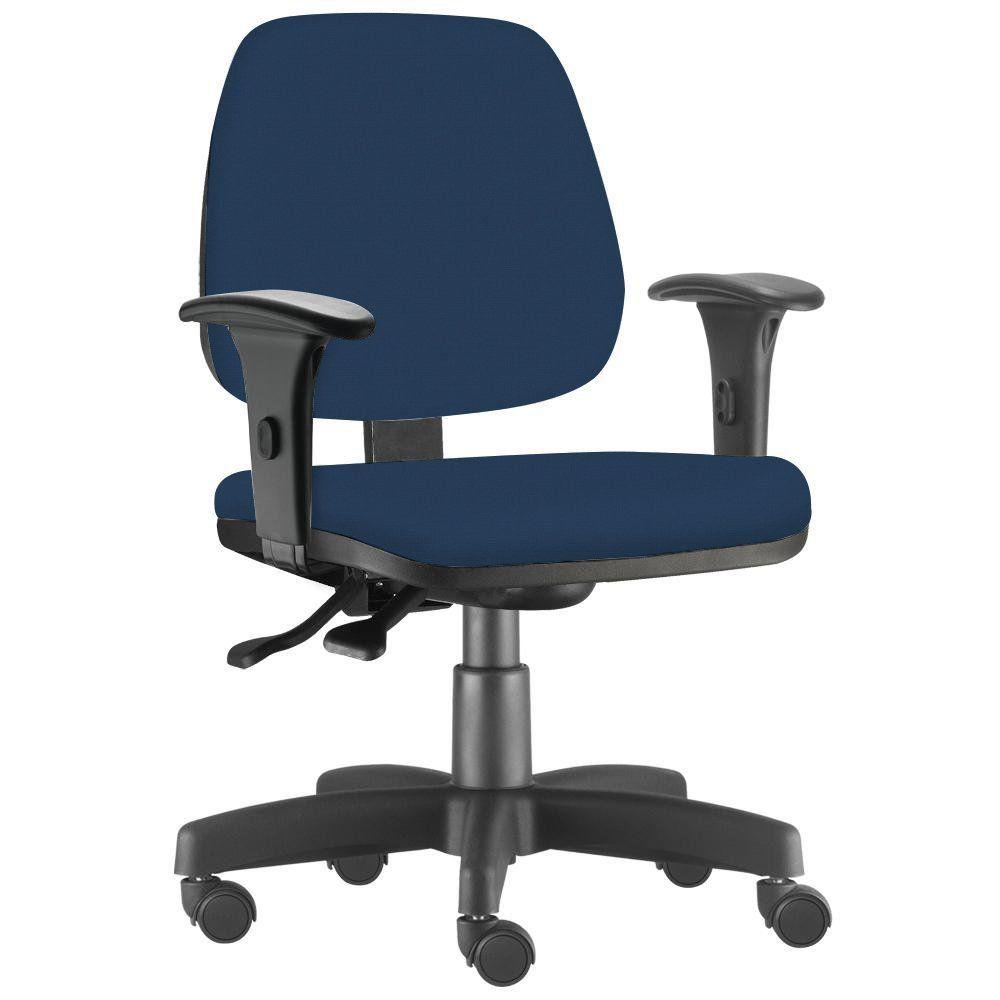 Cadeira Giratória Job L02 Executiva Ergonômica Escritório Crepe Azul Marinho - Lyam Decor