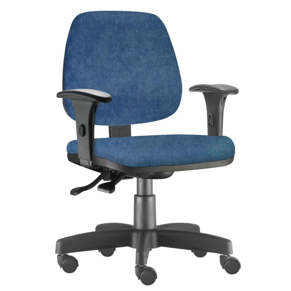 Cadeira Giratória Job L02 Executiva Ergonomica Escritório Tecido Azul - Lyam Decor