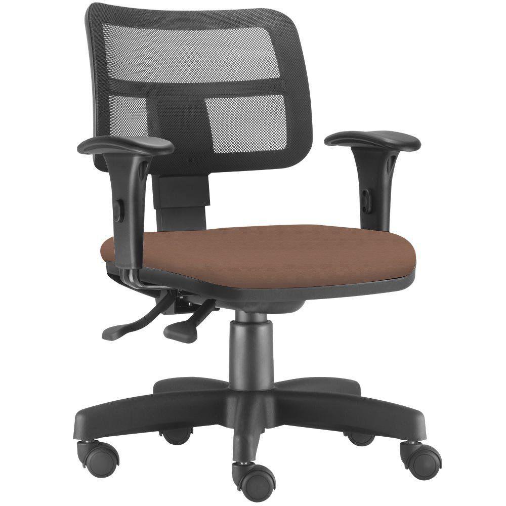 Cadeira Giratória Zip L02 Executiva Ergonômica Escritório Couro Sintético Camel - Lyam Decor