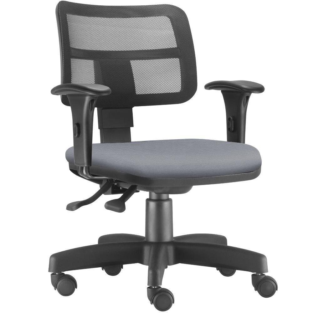 Cadeira Giratória Zip L02 Executiva Ergonômica Escritório Couro Sintético Cinza - Lyam Decor