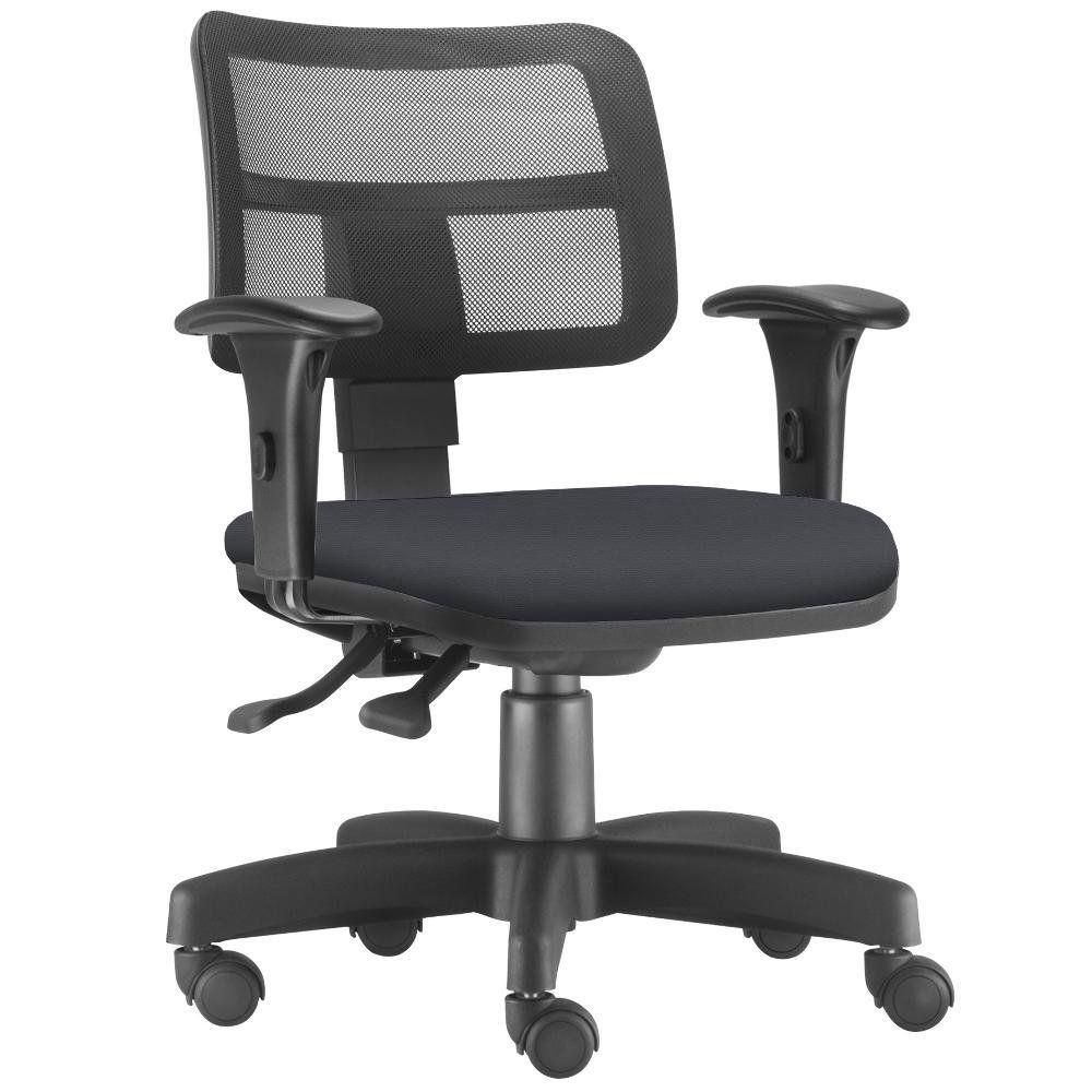 Cadeira Giratória Zip L02 Executiva Ergonômica Escritório Couro Sintético Preto - Lyam Decor