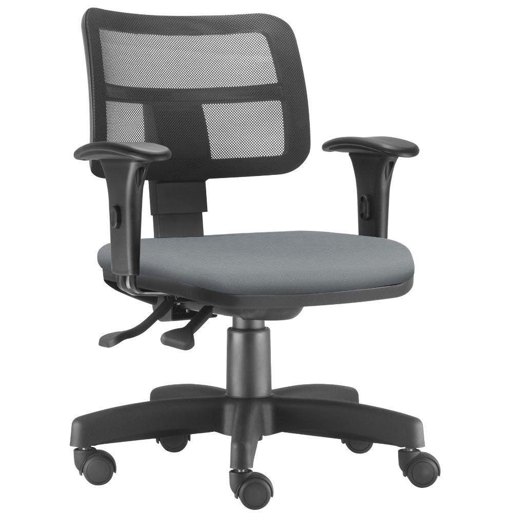 Cadeira Giratória Zip L02 Executiva Ergonômica Escritório Crepe Cinza - Lyam Decor