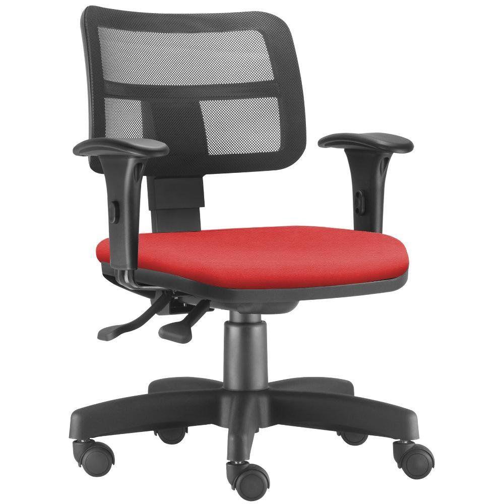 Cadeira Giratória Zip L02 Executiva Ergonômica Escritório Suede Vermelho - Lyam Decor