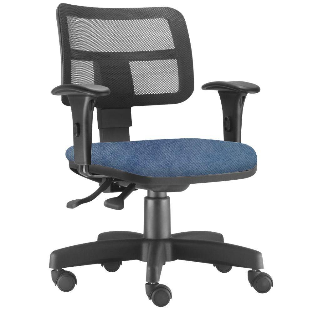 Cadeira Giratória Zip L02 Executiva Ergonômica Escritório Tecido Azul - Lyam Decor