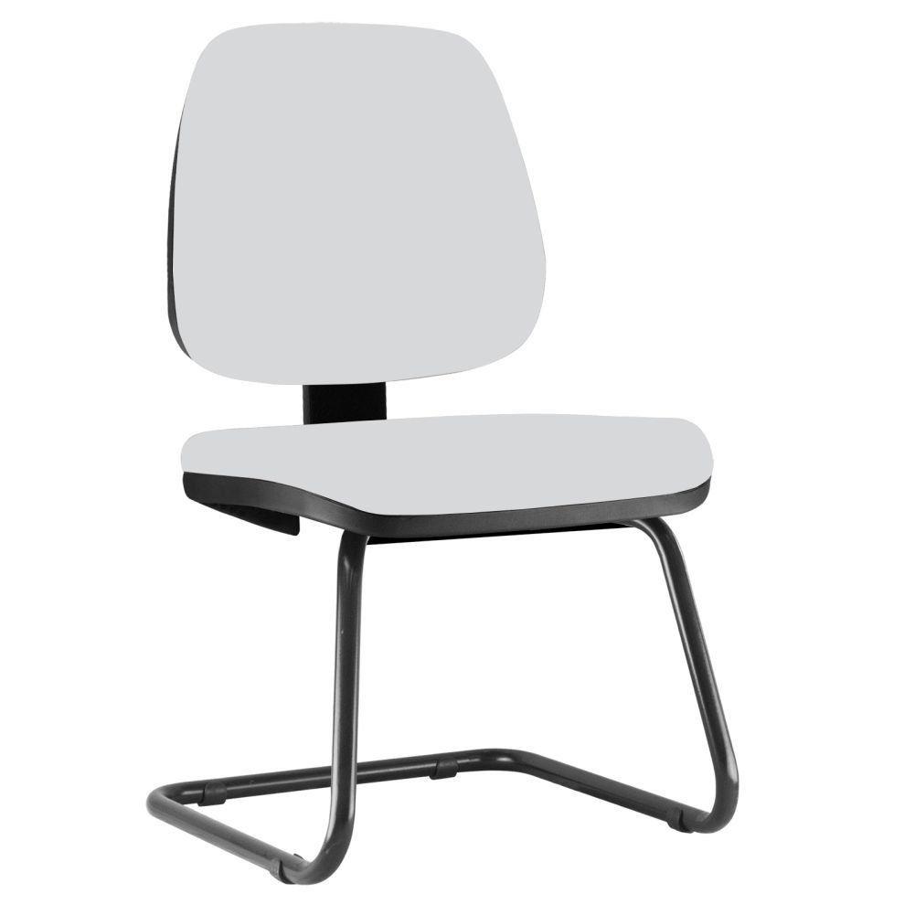 Cadeira Para Escritório Job L02 Fixa Couro Sintético Branco - Lyam Decor
