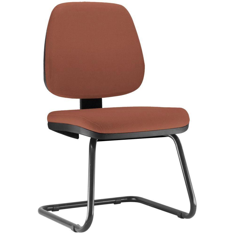 Cadeira Para Escritório Job L02 Fixa Couro Sintético Camel - Lyam Decor
