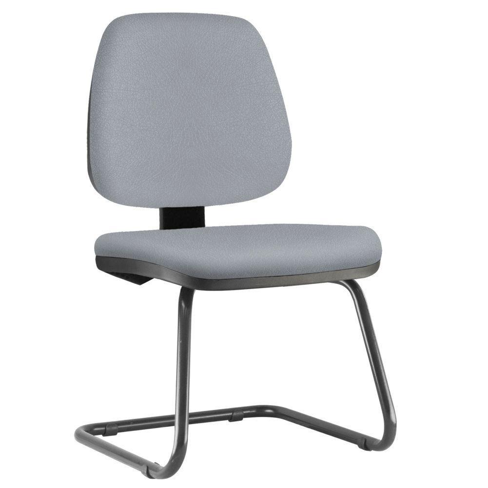 Cadeira Para Escritório Job L02 Fixa Couro Sintético Cinza - Lyam Decor