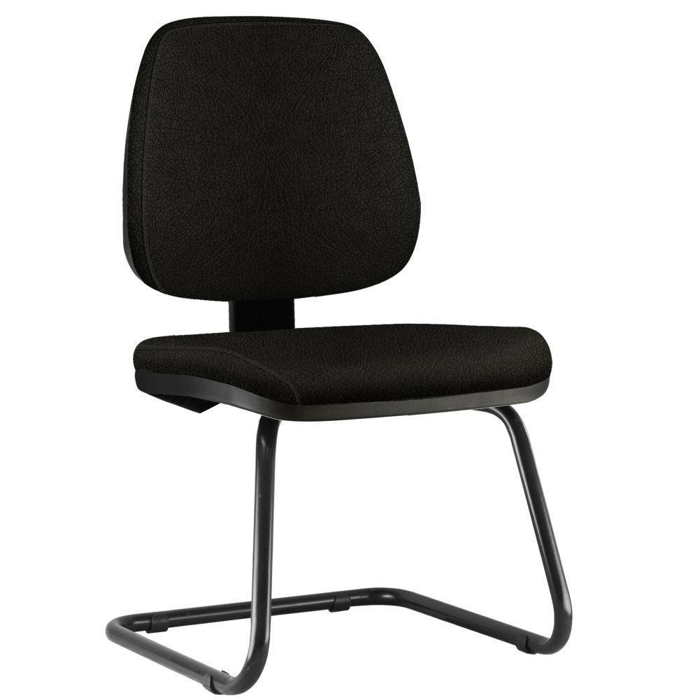 Cadeira Para Escritório Job L02 Fixa Couro Sintético Preto - Lyam Decor